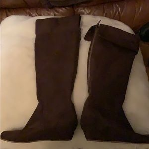 Tall faux suede wedge boots